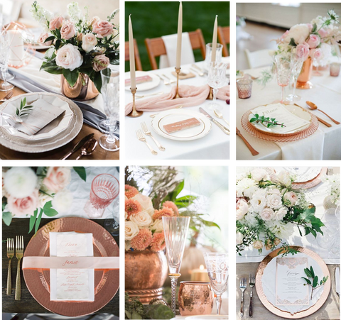 copper blush pink tableware