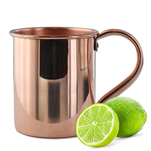 Solid Copper Moscow Mule Mug with Limes - 1