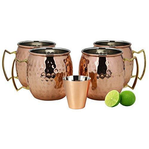 A29 Moscow Mule Copper Mug Set of 4 with Shot Glass and Limes