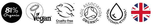 Nourish London Certifications Logos Soil Association Organic Cruelty Free Vegan Proudly British