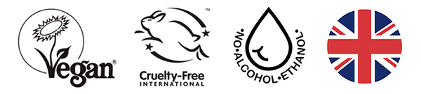 Nourish London Certifications Logos Vegan Cruelty Free Alcohol Free Proudly British