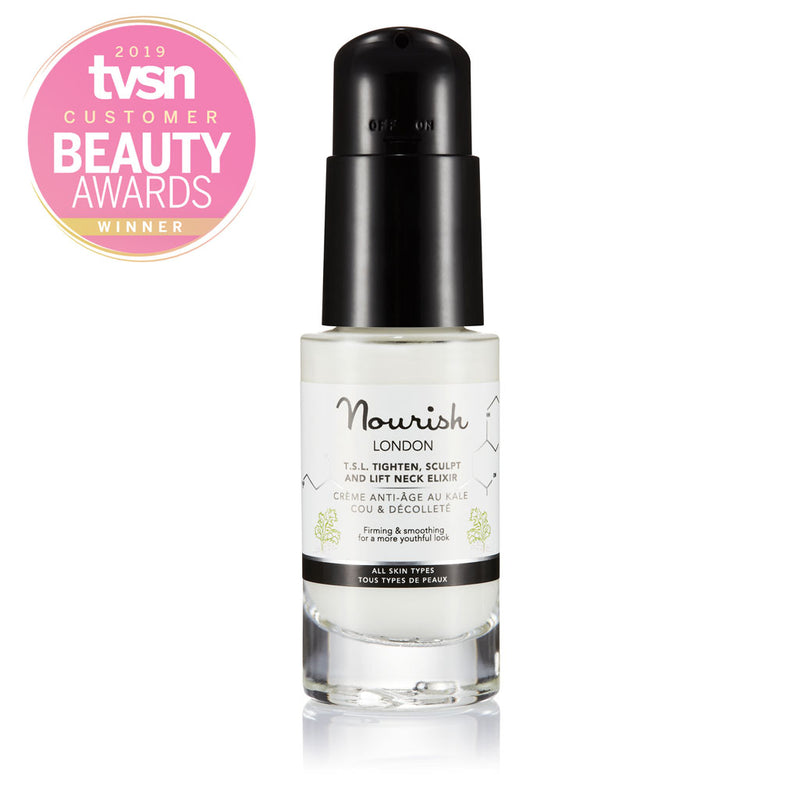 Nourish London Anti-Ageing TSL Tighten Sculpt and Lift Neck Elixir Cream Award Winning Skincare: Winner Best Targeted Problem Solver TVSN Customer Beauty Awards 2019