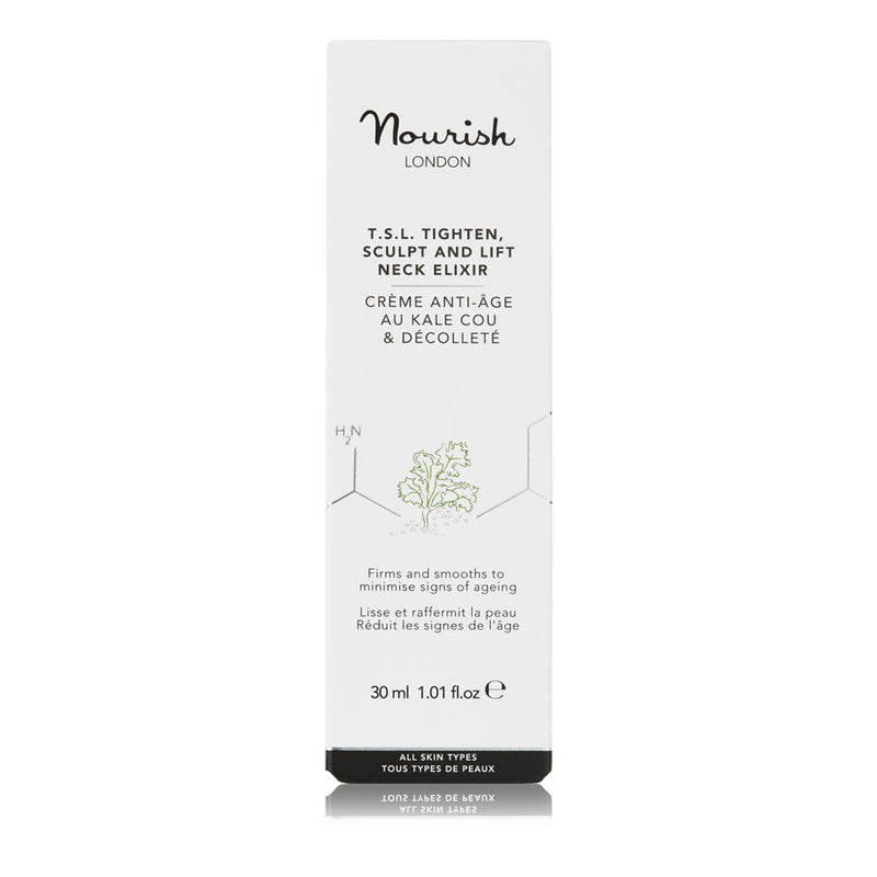 Nourish London Anti-Ageing TSL Tighten Sculpt and Lift Neck Elixir Cream Box