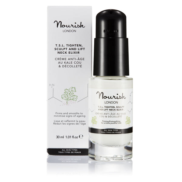 Nourish London Anti-Ageing TSL Tighten Sculpt and Lift Neck Elixir Cream with Organic Kale extract