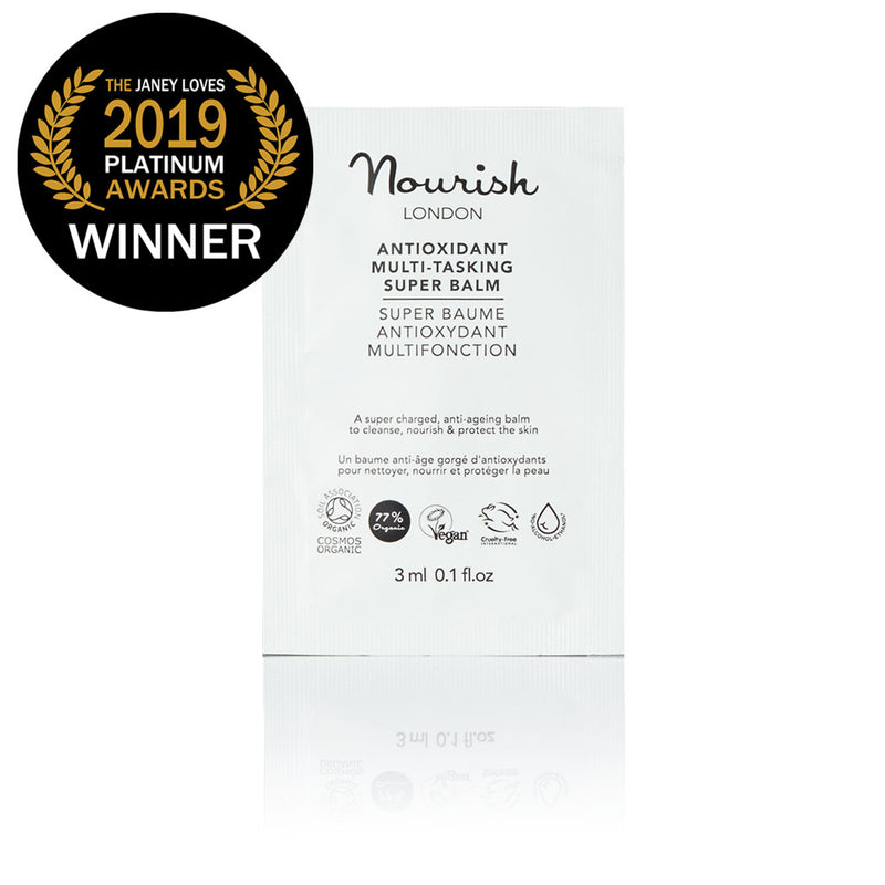 Nourish London Vegan Antioxidant Multi-Tasking Super Balm Sachet Award Winning Skincare: Winner Janey Lee Loves Platinum Award 2019 as Best Multi-Purpose Skincare