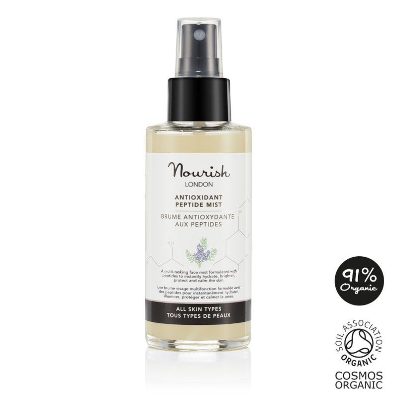 Nourish London Antioxidant Multi-Tasking Peptide Mist: Certified Cosmos Organic - 91% Organic Ingredients