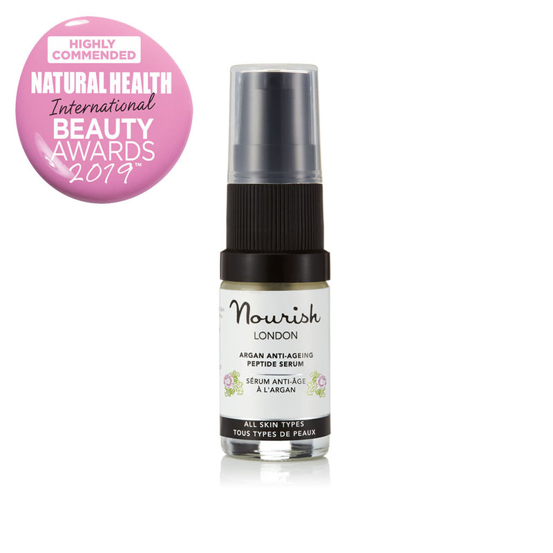 Nourish London Travel Size 5 ml Argan Anti-Ageing Peptide Serum Award Winning Skincare: Natural Health Magazine International Beauty Awards Highly Commended 2019 Best Anti-Ageing Range