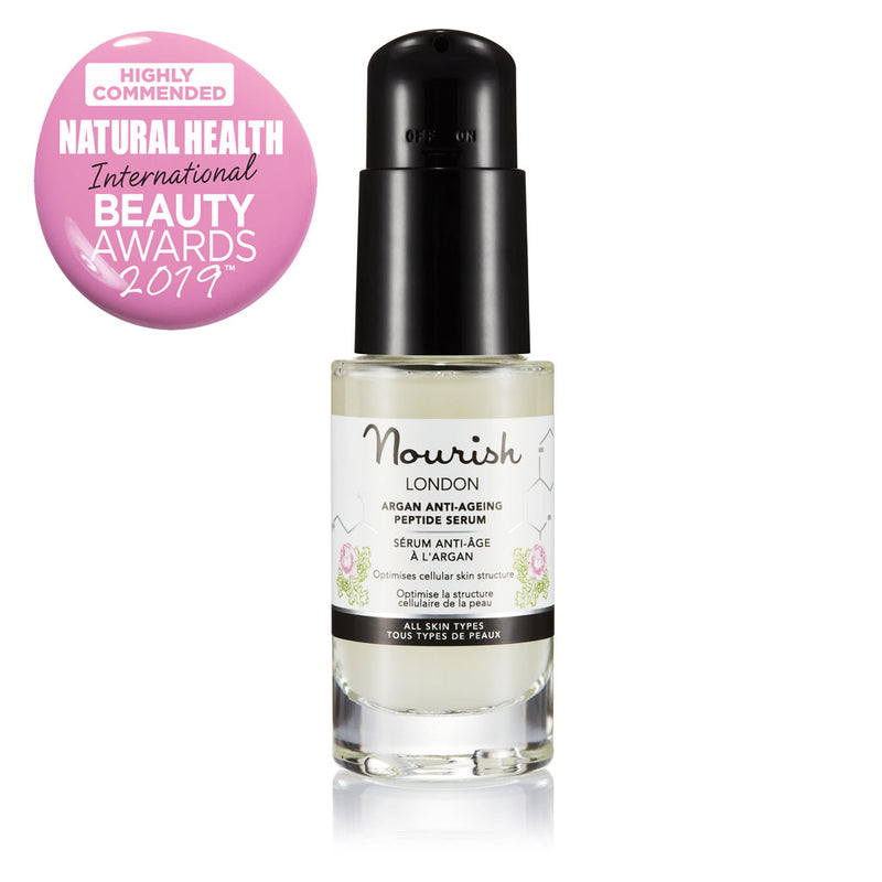 Nourish London Argan Anti-Ageing Peptide Serum Award Winning Skincare: Natural Health Magazine International Beauty Awards Highly Commended 2019 Best Anti-Ageing Range