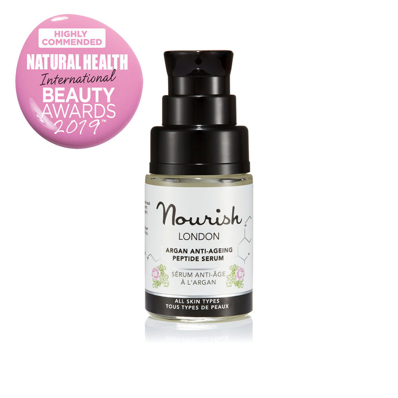 Nourish London Argan Anti-Ageing Peptide Face Serum Travel Size 15 ml Award Winning Skincare: Natural Health Magazine International Beauty Awards Highly Commended 2019 Best Anti-Ageing Range