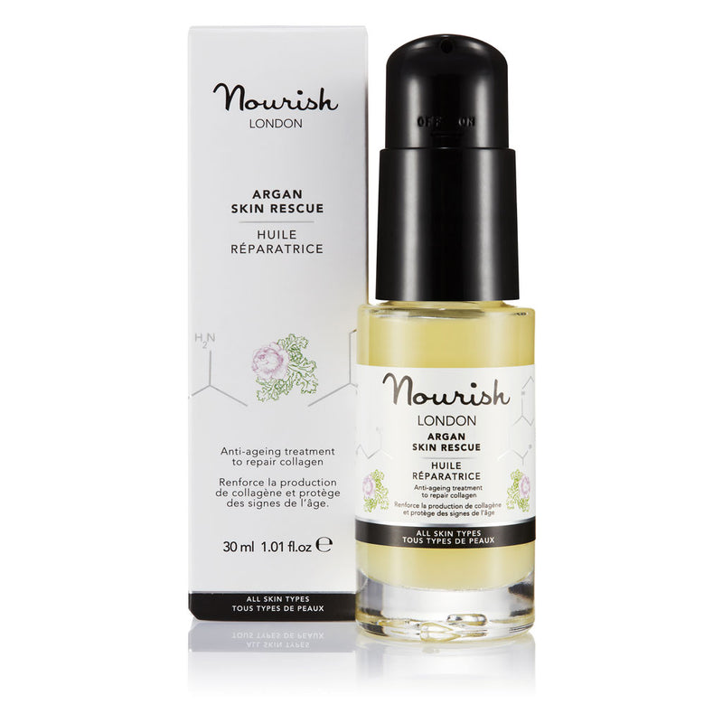 Nourish London Argan Skin Rescue 30ml size: Anti-Ageing Facial Oil For All Skin Types - Natural, Vegan, Organic & Alcohol Free