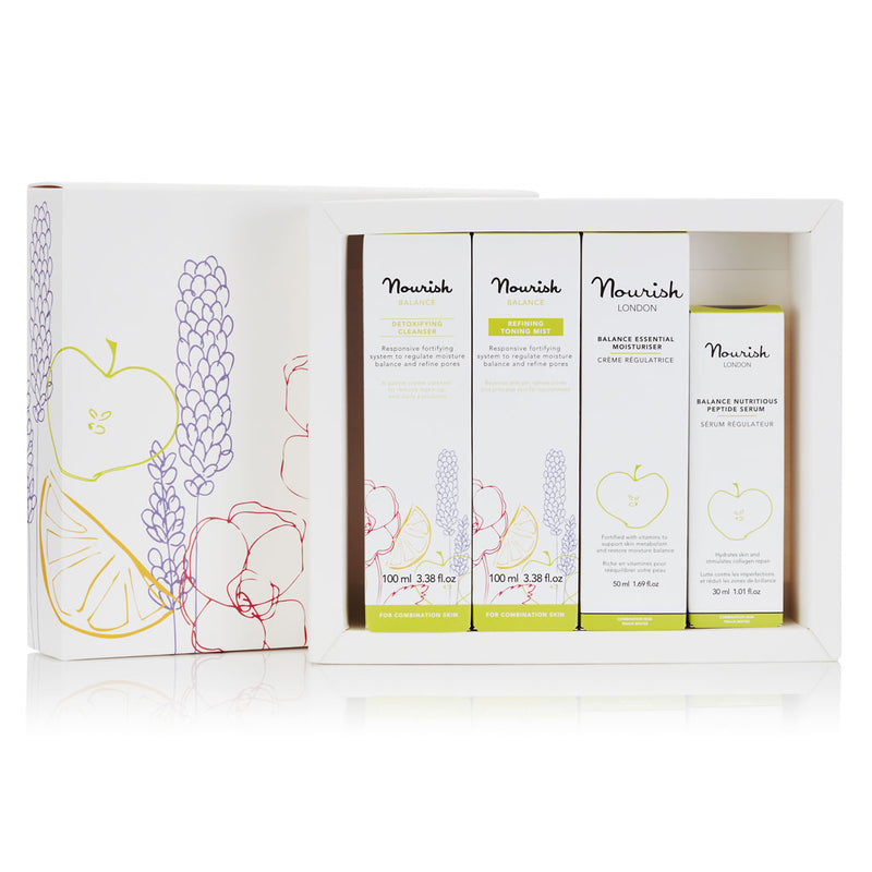 Nourish London Balance Beauty Gift Set for Oily Skin: Cleanser, Toning Mist, Serum, Moisturiser