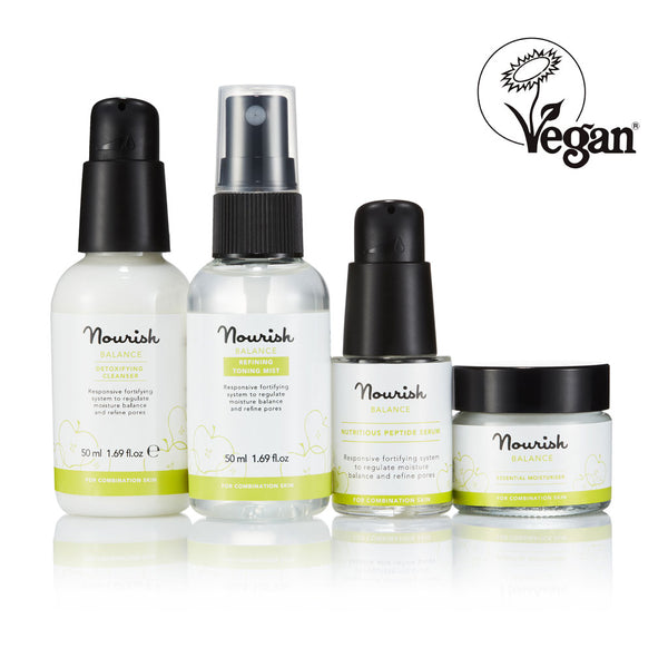 Nourish London Balance Skincare Essentials for Oily Skin - Vegan Certified: Balance Detoxifying Cleanser, Balance Refining Toning Mist, Balance Nutritious Peptide Serum, Balance Essential Moisturiser