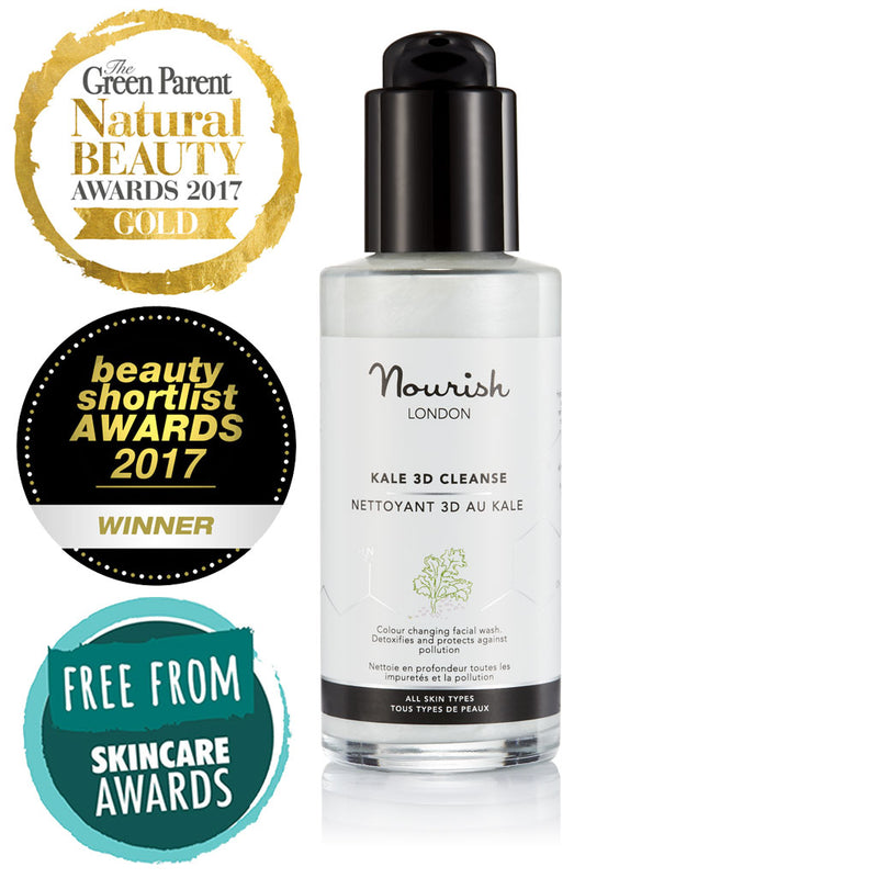 Nourish London Kale 3D Cleanse Award Winning Skincare: Winner Gold Award Best Cleanser The Green Parent Natural Beauty Awards 2017, Winner Best New Skin Care Launch Beauty Shortlist Awards 2017, Silver Award Winner in Face Care Wash Off Free From Skincare Awards 2017