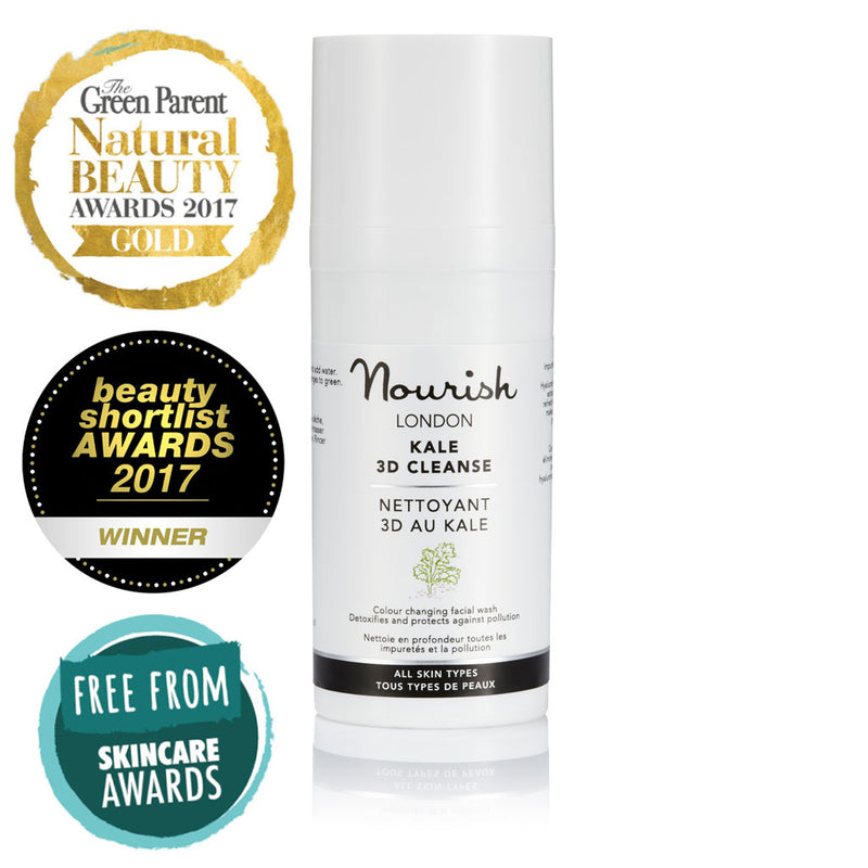 Nourish London Travel Size Kale 3D Cleanse Award Winning Skincare: Winner Gold Award Best Cleanser The Green Parent Natural Beauty Awards 2017, Winner Best New Skin Care Launch Beauty Shortlist Awards 2017, Silver Award Winner in Face Care Wash Off Free From Skincare Awards 2017