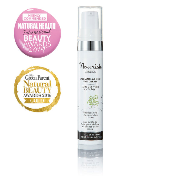 Nourish London Kale Biomimetic Anti-Ageing Eye Cream Award Winning Skincare: Natural Health Magazine International Beauty Awards Highly Commended 2019 Best Anti-Ageing Range, The Green Parent Natural Beauty Awards 2016 GOLD Best Eye Cream