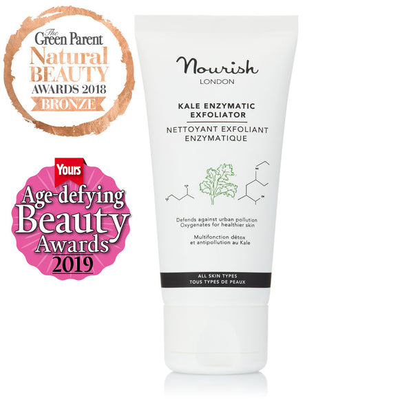 Nourish London Kale Enzymatic Exfoliator Award Winning Skincare: Winner Best Exfoliator for Age Defying Beauty Awards 2019, Bronze Award Best Facial Scrub in Green Parent Natural Beauty Awards 2018