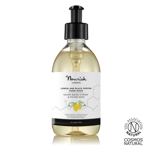 Nourish London 100% Natural Lemon & Black Pepper Antibacterial Hand Wash Certified Cosmos Natural