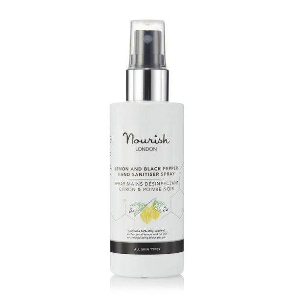 Nourish London Lemon & Black Pepper Hand Sanitiser Spray - 65% Alcohol + Antibacterial Lemon