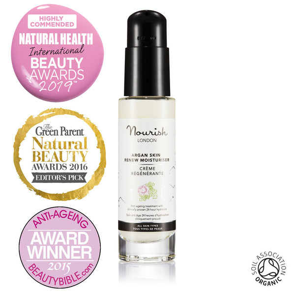 Nourish London Argan Skin Renew Moisturiser Certified Organic Award Winning Skincare: Natural Health Magazine International Beauty Awards Highly Commended 2019 Best Anti-Ageing Range, Winner The Green Parent Natural Beauty Awards Editor's Pick 2016, Best Anti-ageing Product The Beauty Bible Awards 2015