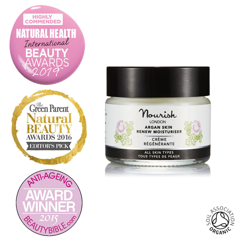 Nourish London Argan Skin Renew Moisturiser Travel Size 15 ml Organic Certified Award Winning Skincare: Natural Health Magazine International Beauty Awards Highly Commended 2019 Best Anti-Ageing Range, Winner The Green Parent Natural Beauty Awards Editor's Pick 2016, Best Anti-ageing Product The Beauty Bible Awards 2015