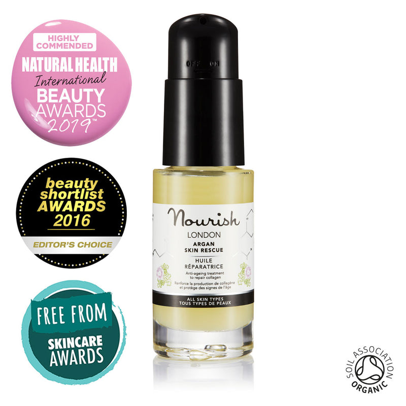 Nourish London Argan Skin Rescue Organic Certified Award Winning Skincare: Natural Health Magazine International Beauty Awards Highly Commended 2019 Best Anti-Ageing Range, Beauty Shortlist Awards Editor's Choice 2016, Winner Free From Skincare Awards 2015