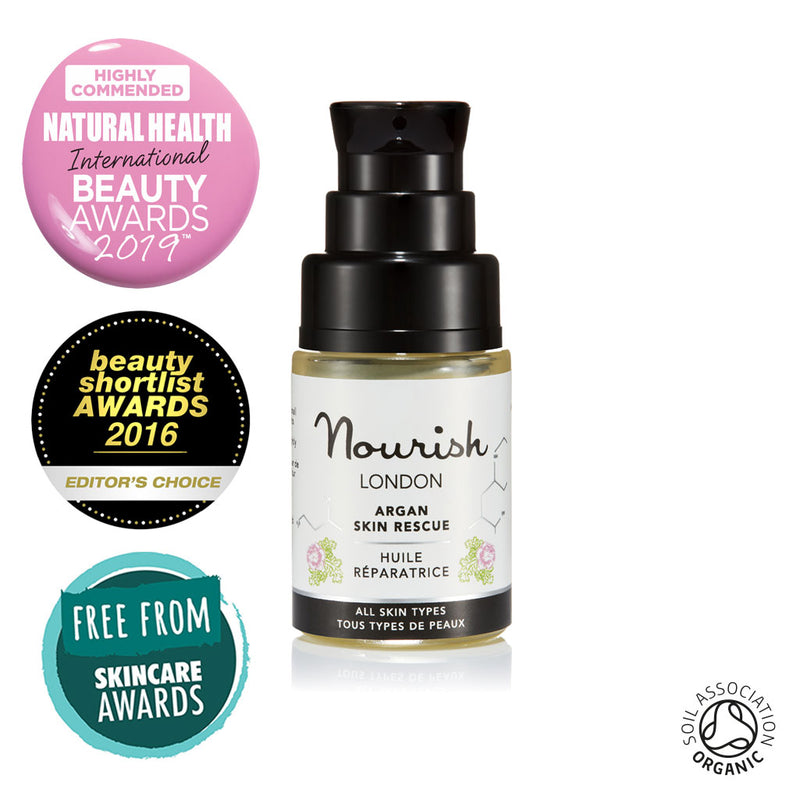 Nourish London Argan Skin Rescue 15ml Organic Certified Award Winning Skincare: Natural Health Magazine International Beauty Awards Highly Commended 2019 Best Anti-Ageing Range, Beauty Shortlist Awards Editor's Choice 2016, Winner Free From Skincare Awards 2015