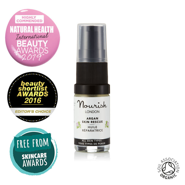 Nourish London Argan Skin Rescue Certified Organic Facial Oil Travel Size 5 ml - Award Winning Skincare: Natural Health Magazine International Beauty Awards Highly Commended 2019 Best Anti-Ageing Range, Beauty Shortlist Awards Editor's Choice 2016, Winner Free From Skincare Awards 2015