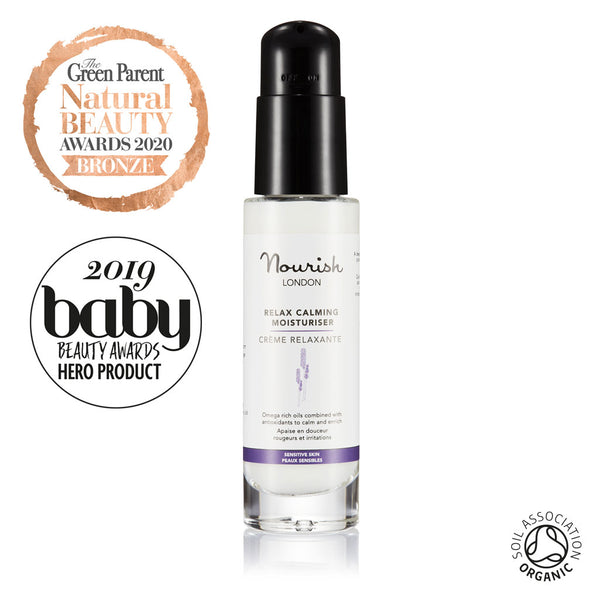Nourish London Relax Calming Moisturiser Certified Organic Award Winning Skincare: Baby Beauty Awards Hero Product 2019, Bronze Award Best Day Moisturiser The Green Parent Natural Beauty Awards 2020