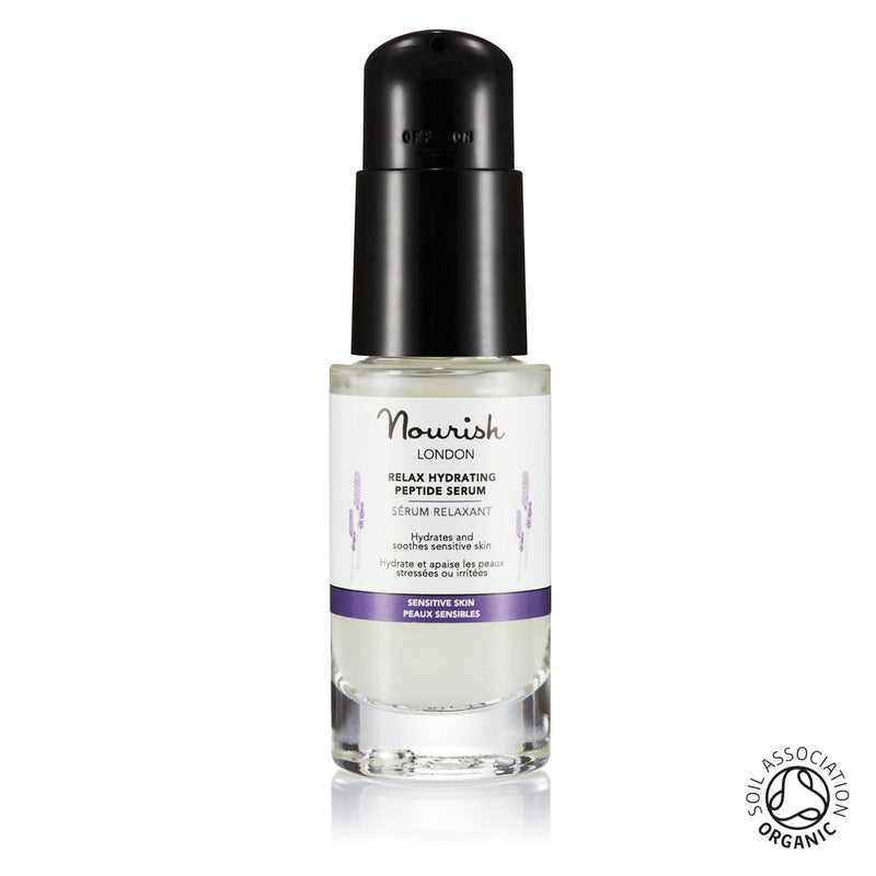 Nourish London Organic Certified Relax Hydrating Peptide Serum for Sensitive Skin