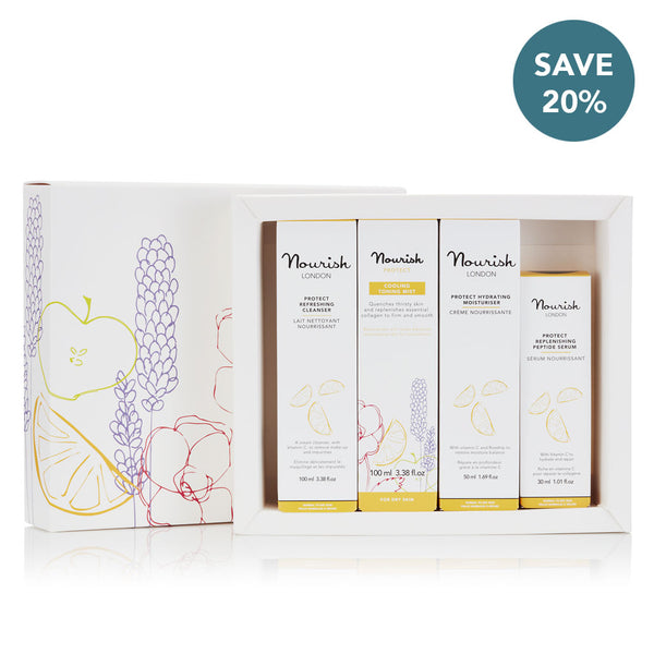 Nourish London Protect Beauty Gift Set for Dry Skin: Cleanser, Toning Mist, Serum, Moisturiser