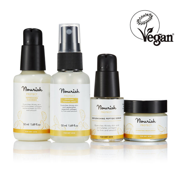 Nourish London NEW Protect Skincare Essentials for Dry Skin - Vegan Certified: Protect Refreshing Cleanser, Protect Cooling Toning Mist, Protect Replenishing Peptide Serum, Protect Hydrating Moisturiser