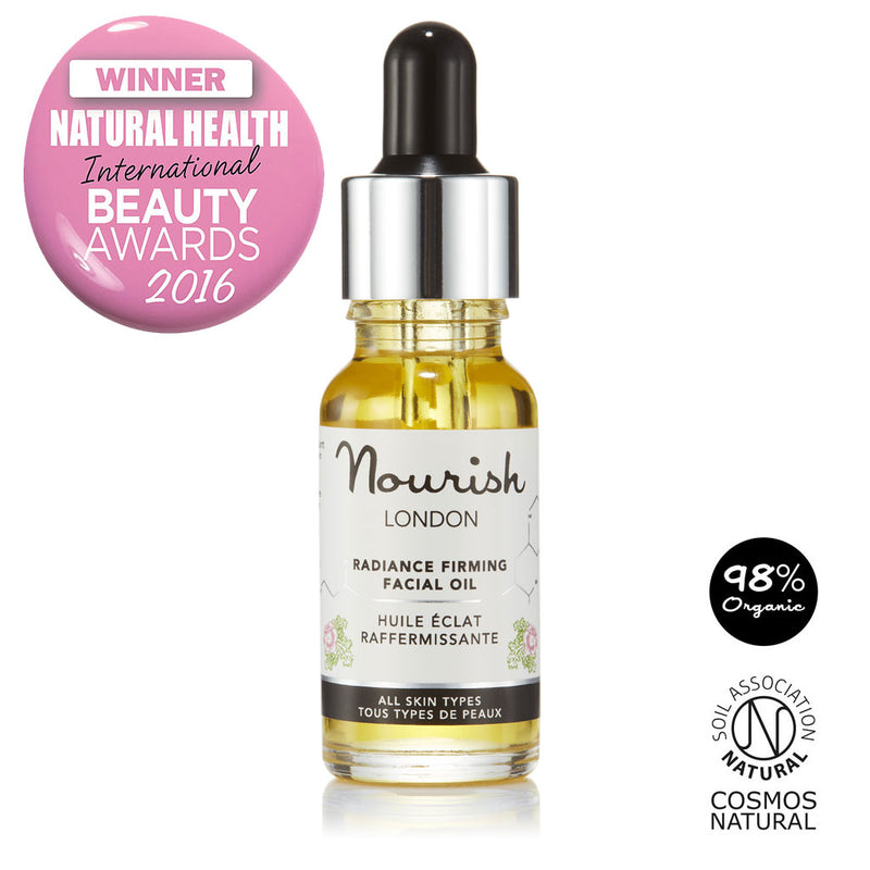 Nourish London Radiance Firming Facial Oil Award Winning Skincare: Natural Health Magazine International Beauty Awards Winner as Best facial serum - Certified Cosmos Natural 98% Organic