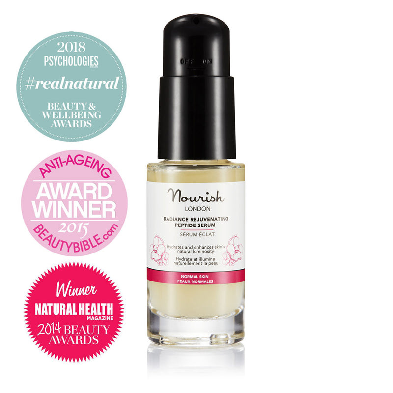 Nourish London Radiance Rejuvenating Peptide Serum Award Winning Skincare: Best Serum - Psychologies Real Natural Beauty & Wellbeing Awards 2018, Best Anti-ageing Product The Beauty Bible Awards 2015