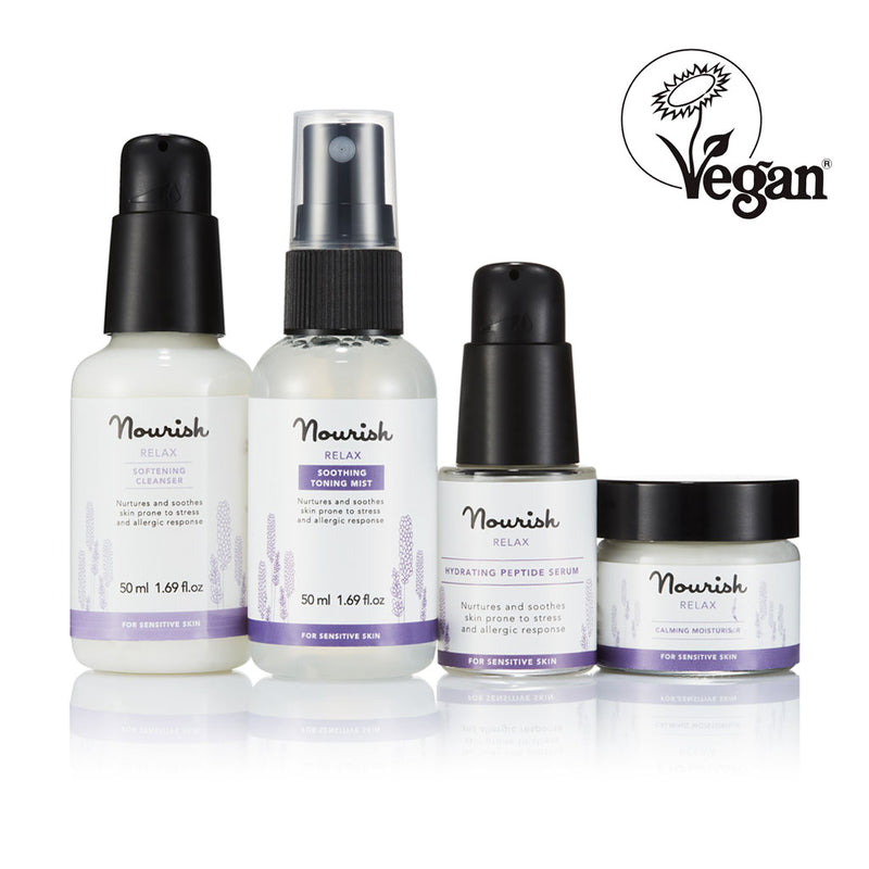 Nourish London NEW Relax Skincare Essentials for Sensitive Skin - Vegan Certified: Relax Softening Cleanser, Relax Soothing Toning Mist, Relax Hydrating Peptide Serum, Relax Calming Moisturiser