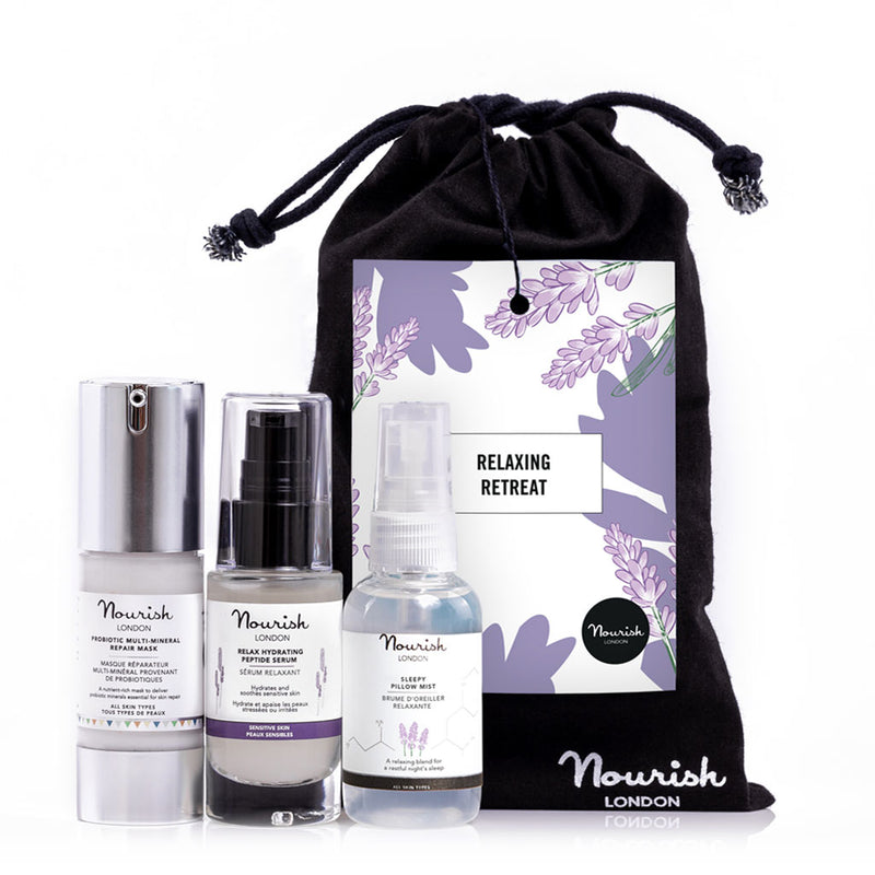 Nourish London Relaxing Retreat Gift Set - Natural and Organic Mother's Day Gift Worth £55: Probiotic Multi-Mineral Repair Mask, Relax Hydrating Peptide Serum and Sleepy Pillow Mist