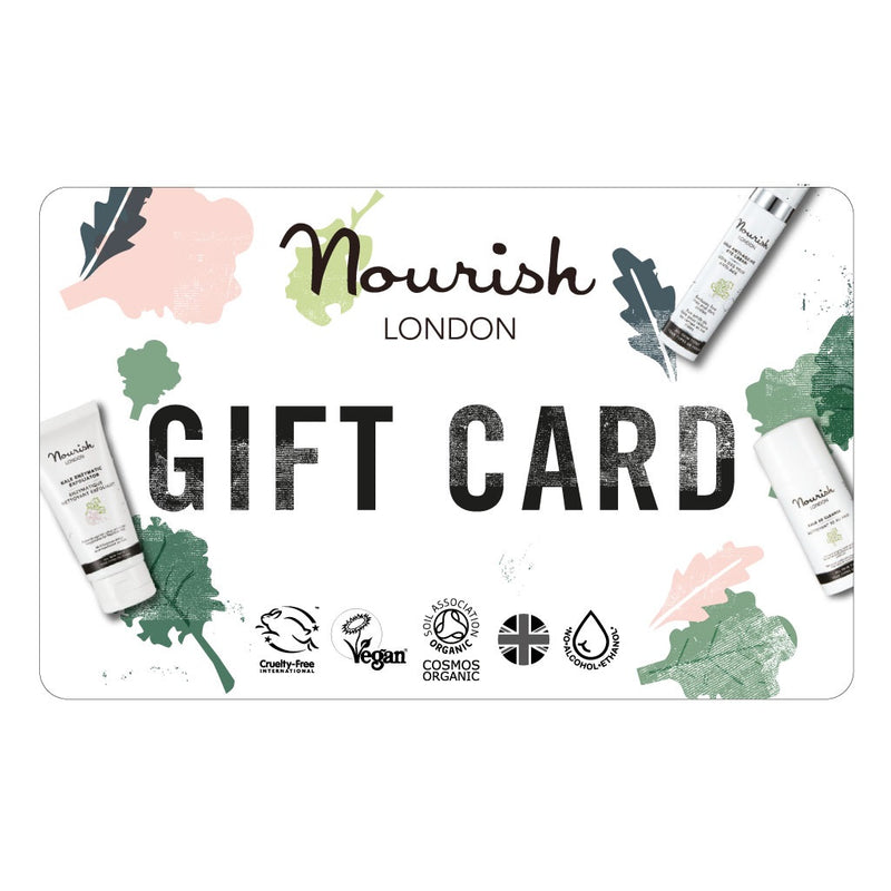 Nourish London Certified Organic Cruelty Free Vegan Alcohol Free Made in UK Skincare Physical Printed Gift Card
