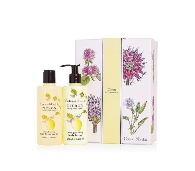Crabtree & Evelyn Citron Honey & Coriander Skin Cleansing Bath & Shower Gel, Skin Quenching Body Lotion Set