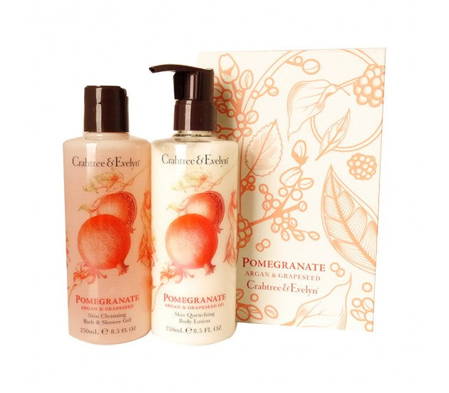 Crabtree & Evelyn Pomegranate Argan & Grapeseed Bath & Shower Gel, Body Lotion Set