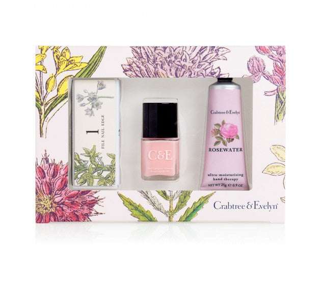Crabtree & Evelyn Rosewater Ultra-Moisturising Hand Therapy & Petal Pink Nail Lacquer & Nail Buffer Set