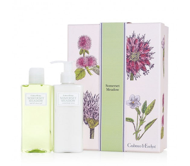 Crabtree & Evelyn Somerset Meadow Bath & Shower Gel, Scented Body Lotion Set