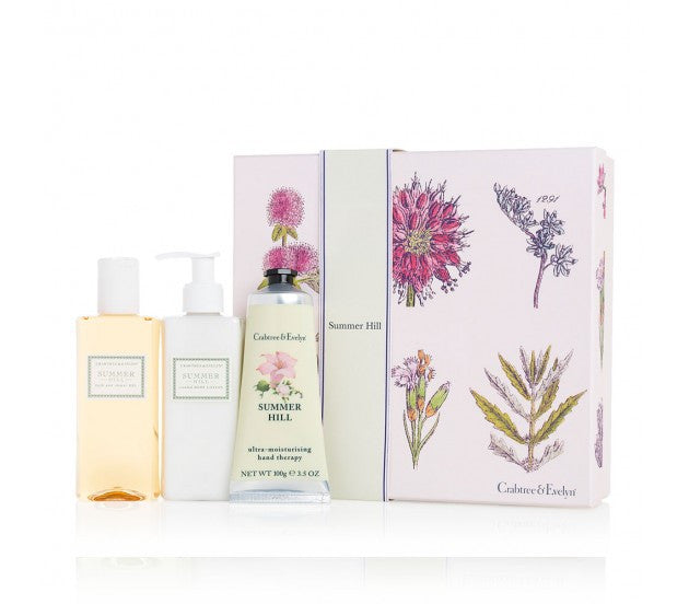 Crabtree & Evelyn Summer Hill Bath & Shower Gel, Scented Body Lotion, Ultra-Moisturising Hand Therapy Set