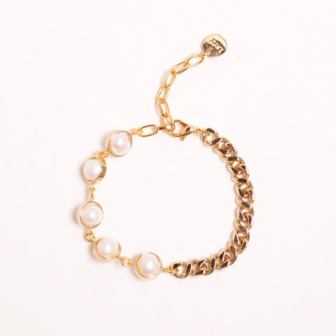 Gold Bold Chain Natural Pearl Earring
