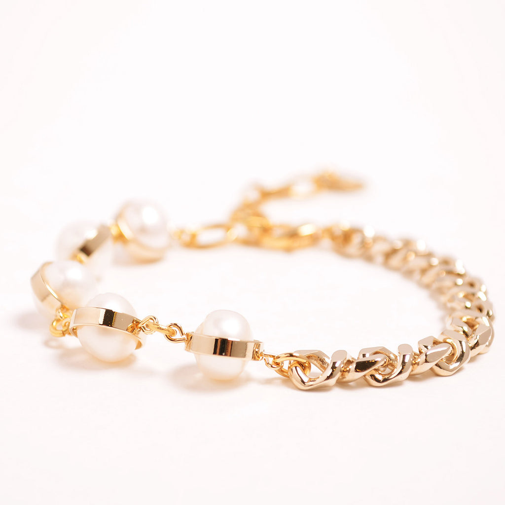 Half Chain Natural Pearl Bracelet
