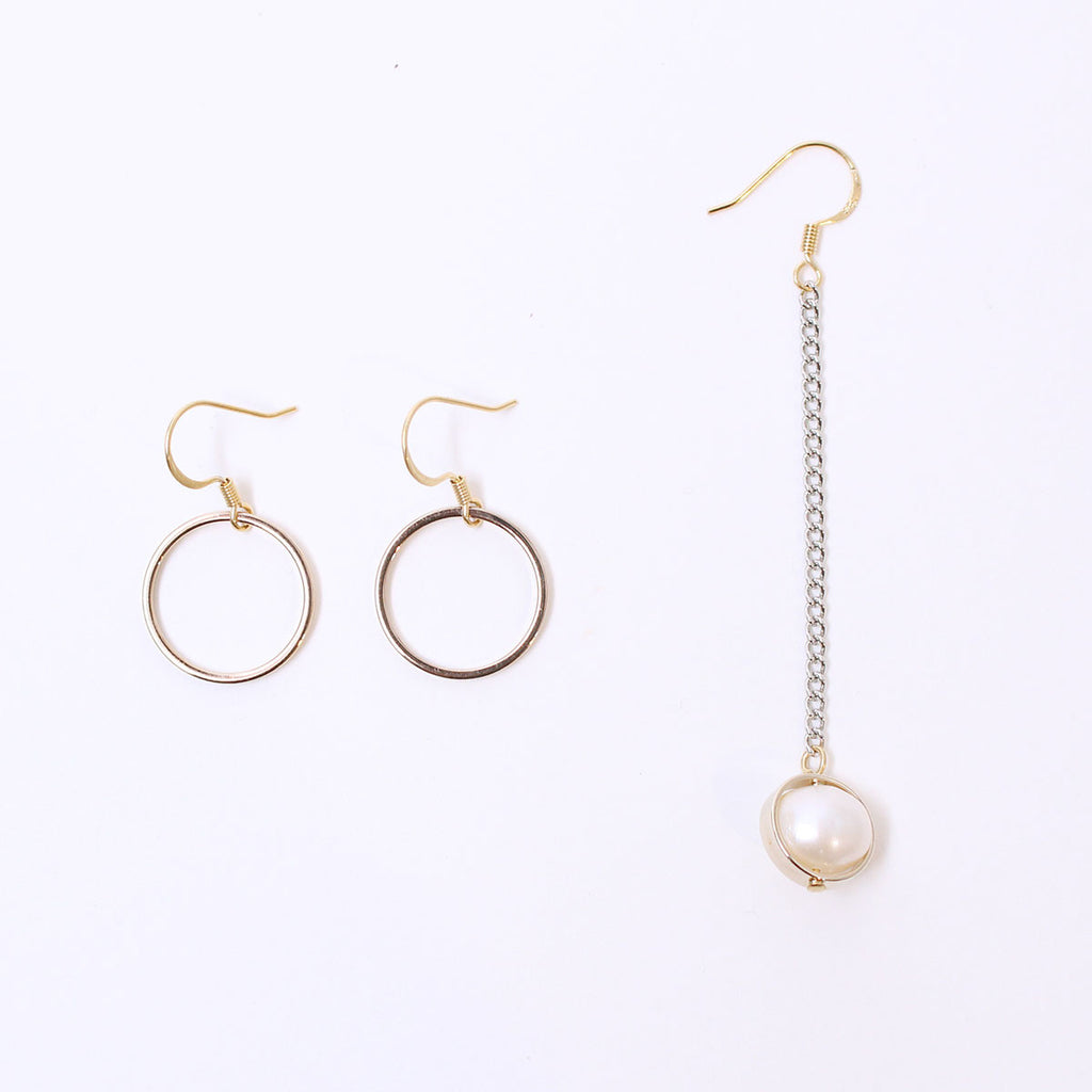 Gold Pipe Natural Pearl Earring Set