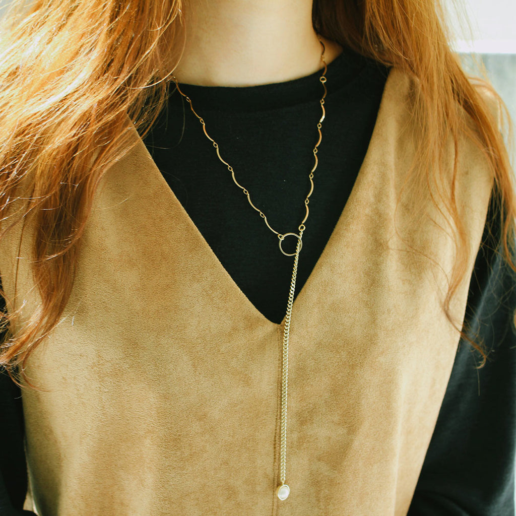 Unbalanced Chain Ring Necklace