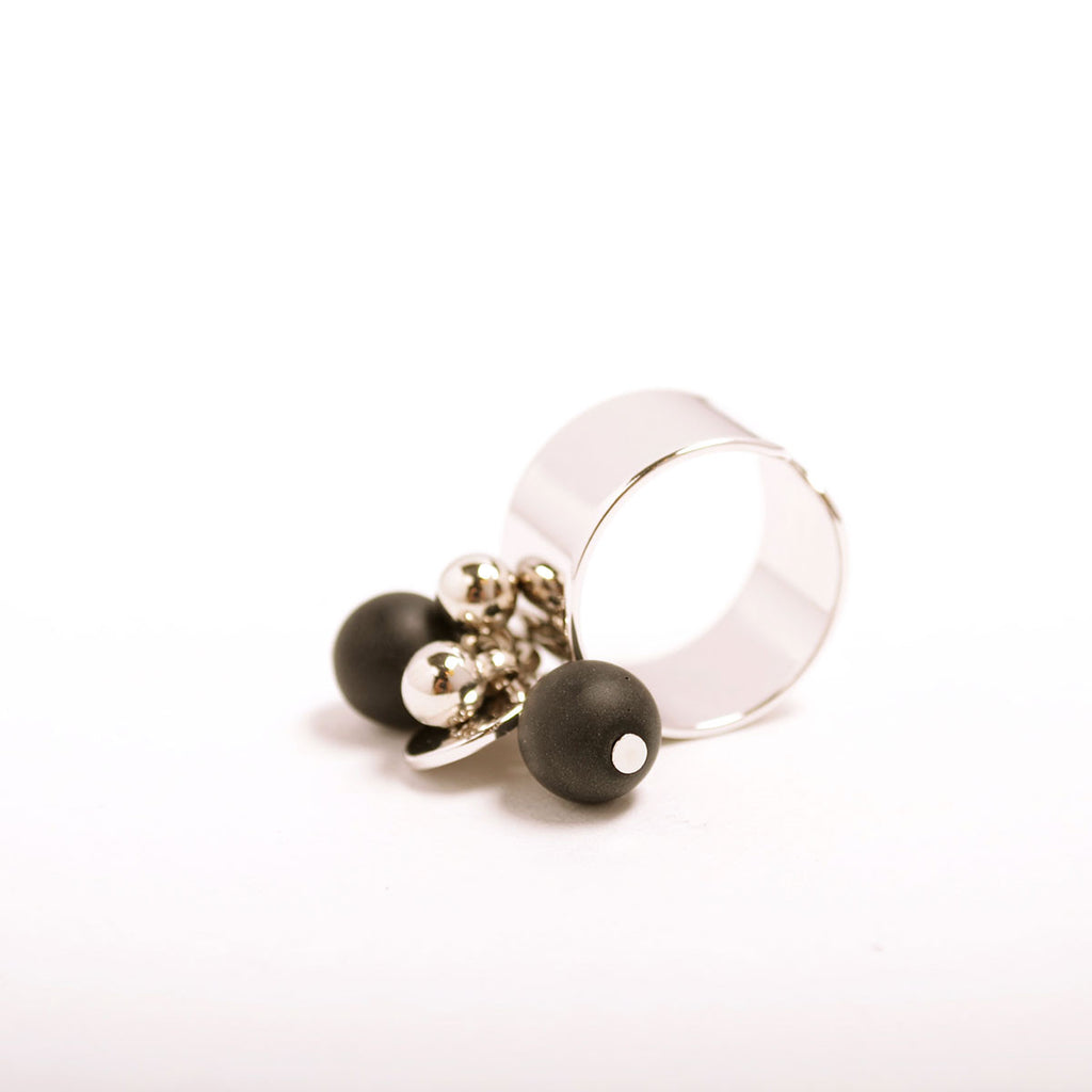 Black Onyx Ball Ring