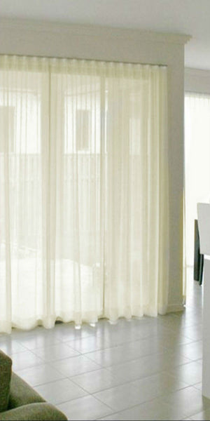 Infinium Batiste Semi -Sheer Voile Panel with WAVE Heading - Pale CREAM - Sheer Ideas