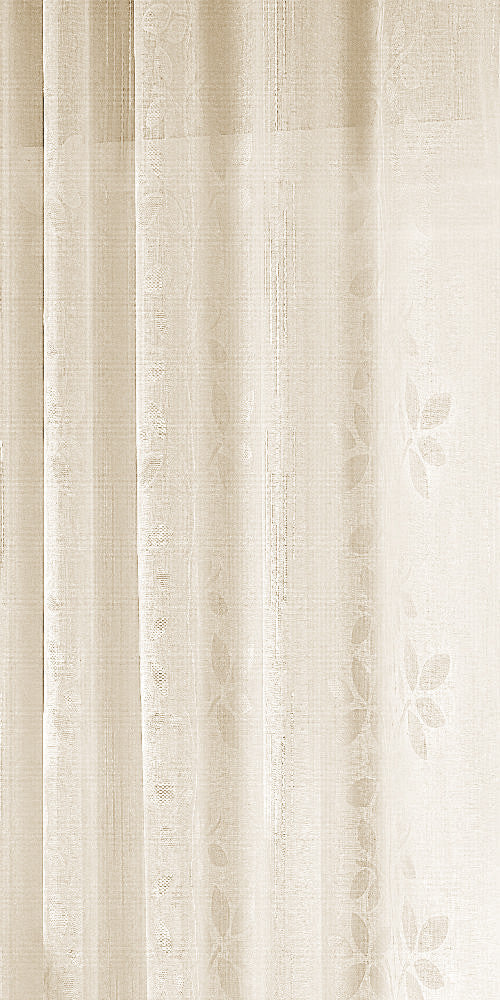 Extra Wide Cotton Look LEAF TRAIL  Voile Fabric 300cm Width - Cream - BEL101C - Sheer Ideas