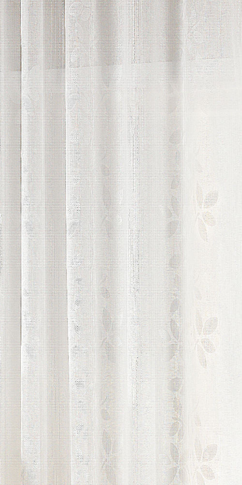 Extra Wide Cotton Look LEAF TRAIL  Voile Fabric 300cm Width - White - BEL101W - Sheer Ideas