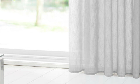 CUSTOM Made SLUBBED COTTON LOOK  Panel  - Pale Grey - Sheer Ideas